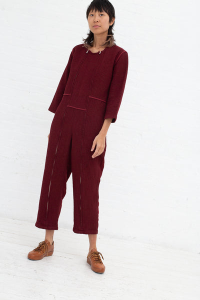 Caron Callahan Ace Jumpsuit in Burgundy, Front View Full Body