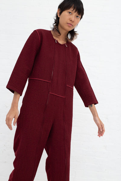Caron Callahan Ace Jumpsuit in Burgundy, Front View Cropped to Knee, Oroboro Store, New York, NY