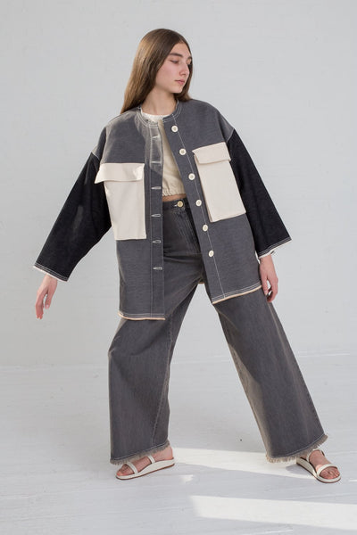 AVN Patchwork Jacket in Patchwork Black on model view front