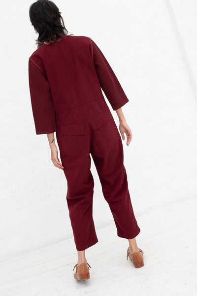 Caron Callahan Ace Jumpsuit in Burgundy, Back View