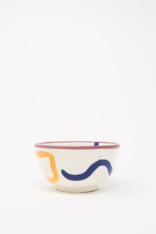 LRNCE Ceramic Bowl in Purple Rim, Side View, Oroboro Store, New York, NY