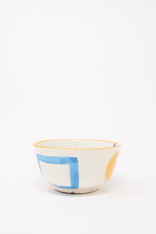 LRNCE Ceramic Bowl in Orange Rim Side View, Oroboro Store, New York, NY