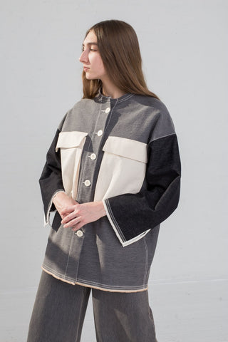 AVN Patchwork Jacket in Patchwork Black on model view side