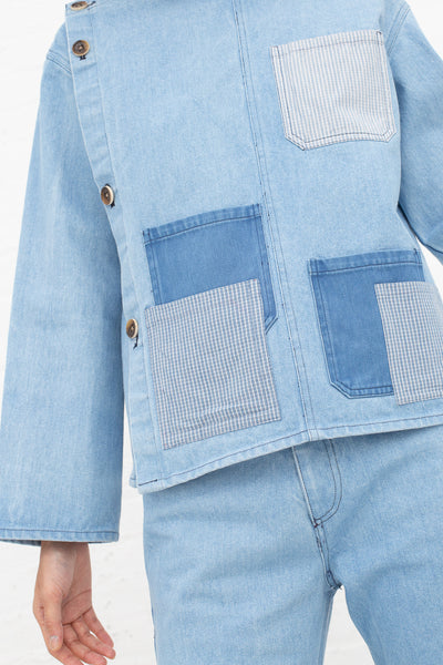 Caron Callahan Mila Smock in Denim, Front View Cropped at Shoulder, Oroboro Store, New York, NY