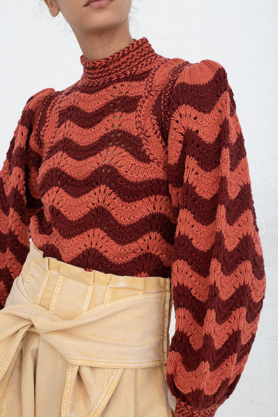 Ulla Johnson Esperanza Pullover in Burgundy, Front View Cropped Below Waist, Oroboro Store, New York, NY