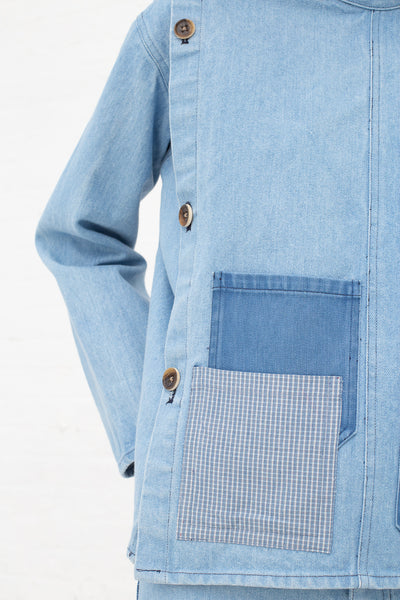 Caron Callahan Mila Smock in Denim, Front View Cropped Shoulder to Waist