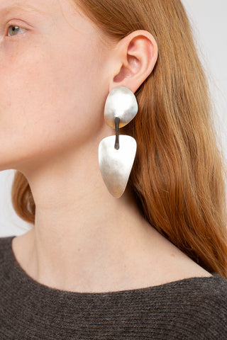 Erin Considine Kilter Earrings in Hand Forged Oxidized Silver and Brass | Oroboro Store | New York, NY