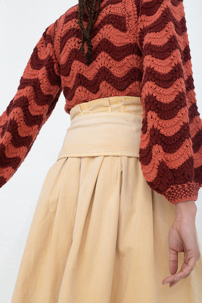 Ulla Johnson Virgil Skirt in Khaki, Back View Cropped at Shoulder to Below Knee