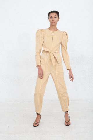Ulla Johnson Hesper Jumpsuit in Khaki, Front View Full Body, Oroboro Store, New York, NY