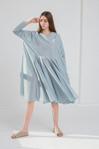 AVN Cotton Pleated Dress in Sky Blue on model view front
