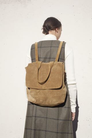 Clyde Room Backpack in Golden Brown Suede | Oroboro Store | Brooklyn, New York
