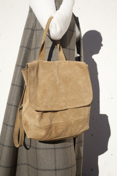 Room Backpack in Golden Brown Suede