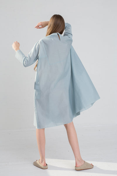 AVN Cotton Pleated Dress in Sky Blue on model view back