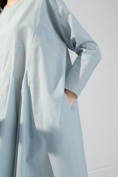 AVN Cotton Pleated Dress in Sky Blue on model view pocket