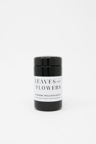 Leaves & Flowers Tea in Violet Glass Jar Tumeric Wellness front view, Oroboro Store, New York, NY