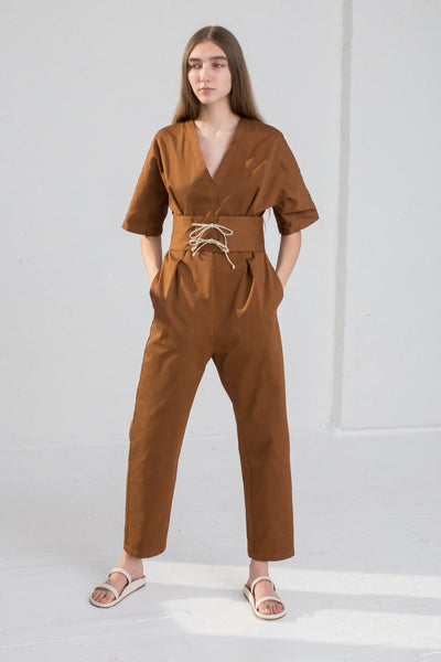 AVN Cotton Jumpsuit in Brown on model view front