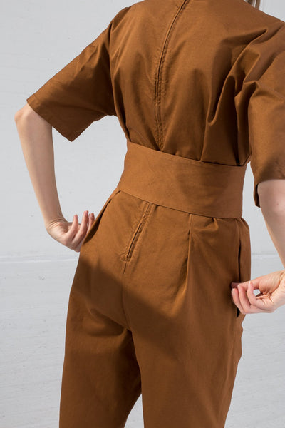 AVN Cotton Jumpsuit in Brown on model view back