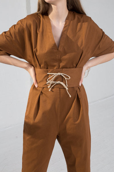 AVN Cotton Jumpsuit in Brown on model view