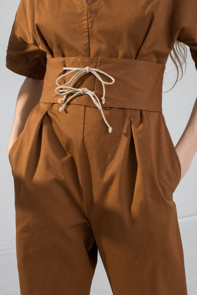AVN Cotton Jumpsuit in Brown on model view belt