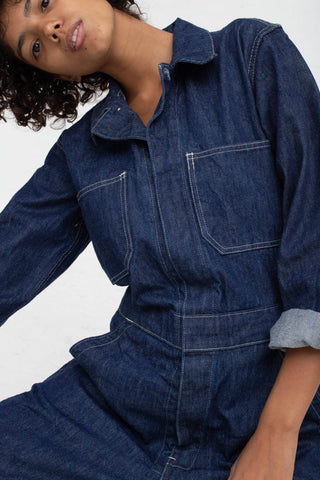 As Ever Zip Jumpsuit in Denim Cropped front detail view