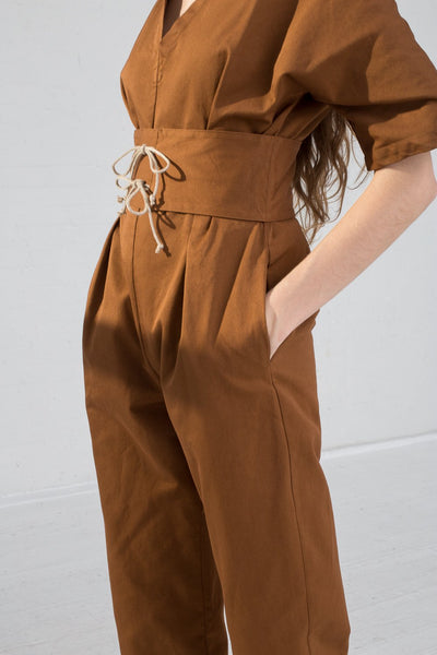 AVN Cotton Jumpsuit in Brown on model view side