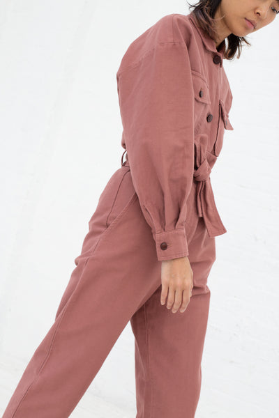 Caron Callahan Dover Pant in Rose, Side View Cropped at Shoulder to Knee