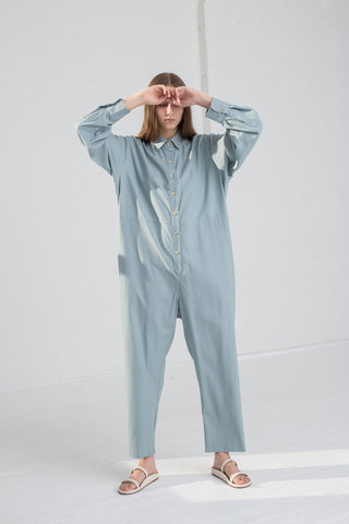 Baserange Marmo Jumpsuit in Buja Blue on model view front