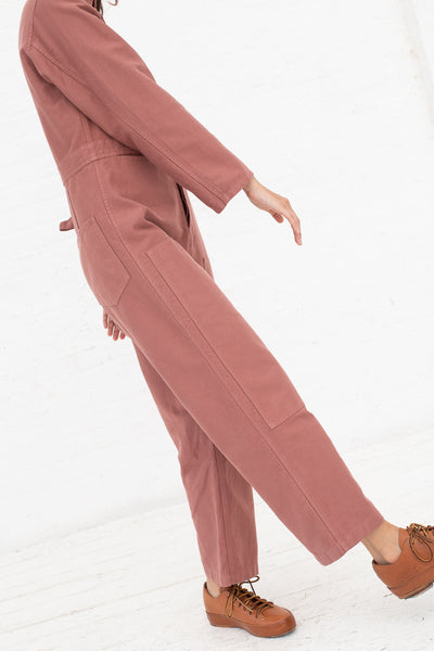 Caron Callahan Fincher Jumpsuit in Rose, Side View Cropped From Shoulder