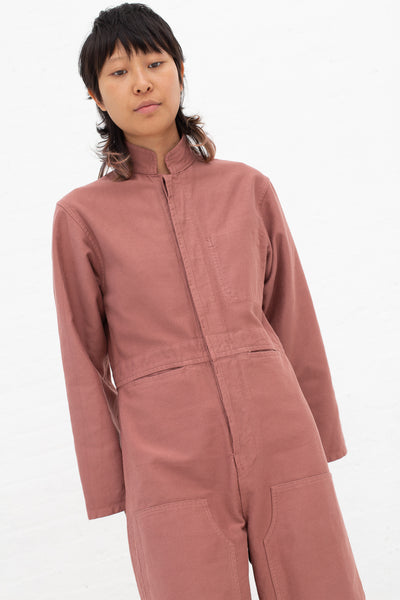 Caron Callahan Fincher Jumpsuit in Rose, Front View Cropped at Knee