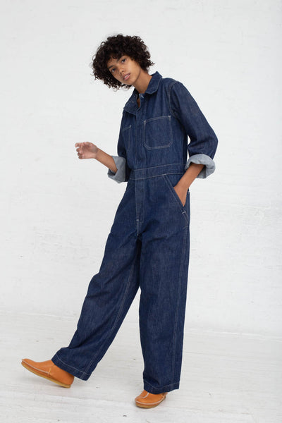 As Ever Zip Jumpsuit in Denim full front view
