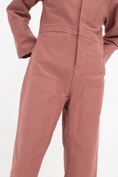 Caron Callahan Fincher Jumpsuit in Rose, Front View Close Up of Waist