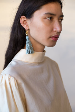 Erin Considine Medio Tassel Earrings in Light Indigo | Oroboro Store | New York, NY