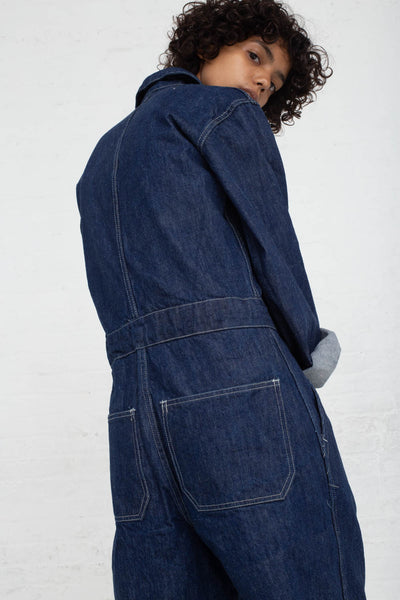 As Ever Zip Jumpsuit in Denim cropped back view