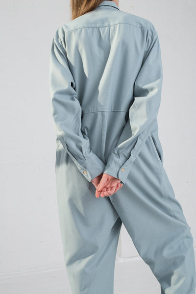 Baserange Marmo Jumpsuit in Buja Blue on model view back