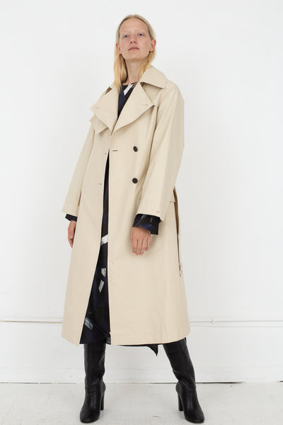 Studio Nicholson Angstrom Raincoat in Cream, Front View Full Body, Oroboro Store, New York, NY