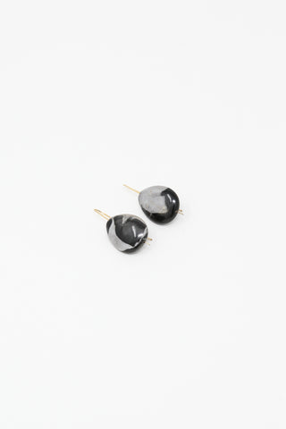 Mary MacGill Stone Drop Hook Earring in Portoro Marble, Side View, Oroboro Store, New York, NY