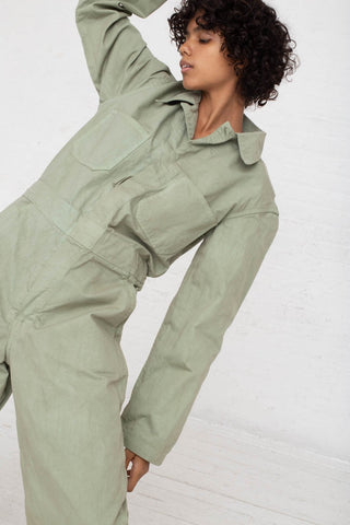 As Ever Zip Jumpsuit in Sage cropped front view