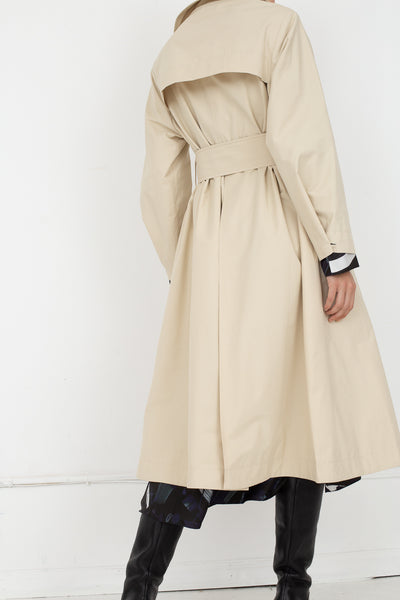 Studio Nicholson Angstrom Raincoat in Cream, Back View Full Body