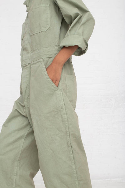 As Ever Zip Jumpsuit in Sage cropped pocket detail view