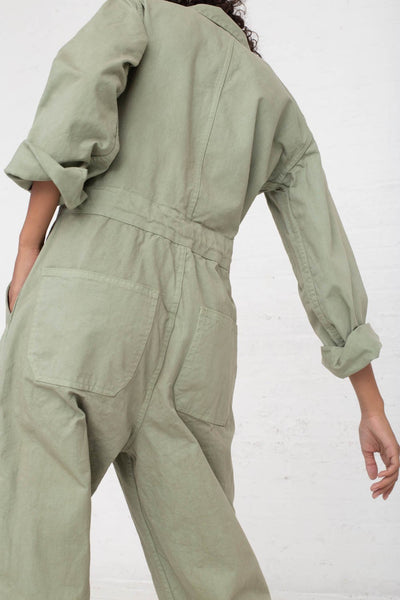 As Ever Zip Jumpsuit in Sage cropped back view