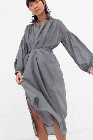 Cosmic Wonder Mythic Wrapped Dress - Organic Cotton Light Lawn in Grey Moon | Oroboro Store | New York, NY