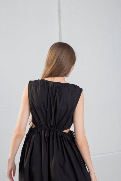 Caron Callahan Goa Dress - Solid Poplin in Black on model view back
