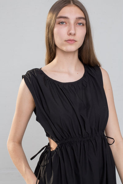 Caron Callahan Goa Dress - Solid Poplin in Black on model view front