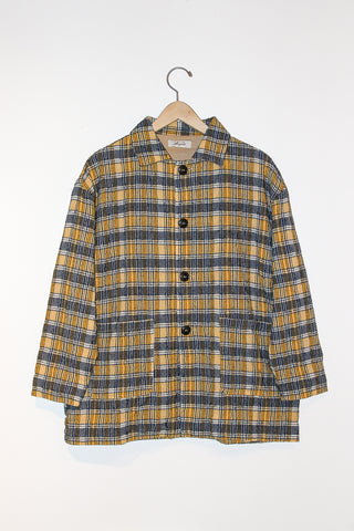 Ichi Antiquites Jacket in Check Yellow full front view