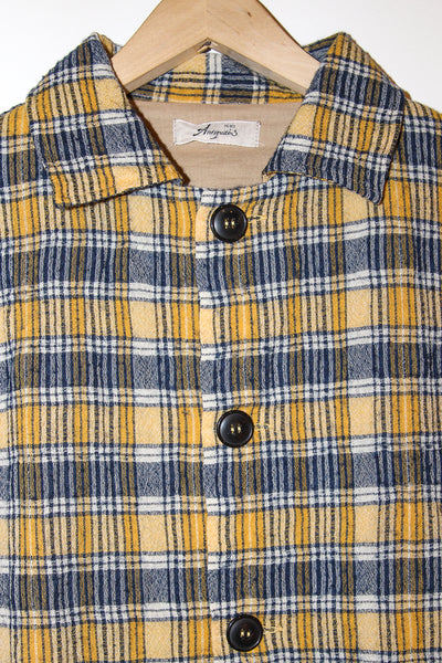 Ichi Antiquites Jacket in Check Yellow cropped collar detail