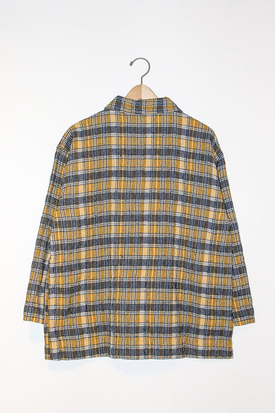 Ichi Antiquites Jacket in Check Yellow full back view