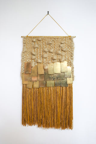 All Roads Woven Wall Hanging in Jute with Brass and Gold Fringe | Oroboro Store | New York, NY