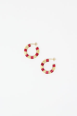 Striped Hoops in 14K Gold Plated Sterling Silver and Cardinal Overhead View