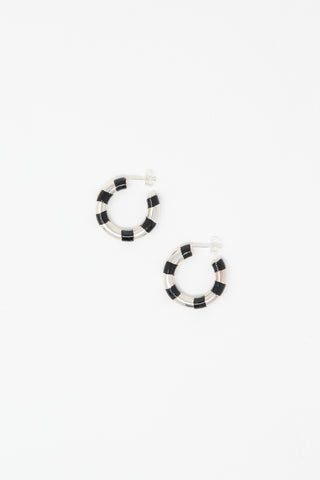 Abby Carnevale Striped Hoops in Sterling Silver and Black Overhead View