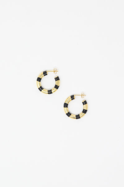 Abby Carnevale Striped Hoops in 14K Gold Plated Sterling Silver and Black Overhead View